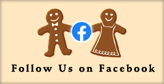 Follow Us on Facebook - GingerBread Man & Woman with a Facebook Logo